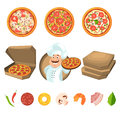Fast food for party or italian lunch. Pizza with cheese and vegetables. Vector illustration in cartoon style Royalty Free Stock Photo