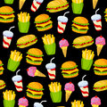 Fast food pattern on a black background.