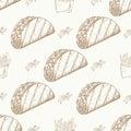 Fast food pattern with taco. Hand draw retro illustration. Vintage taco design.