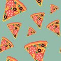 Fast food pizza pixel art seamless pattern. Pizza in old school style. Vintage food.