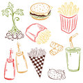 Fast food potatoes colorful vector set Stock Image