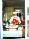 Fast food. Pyongyang. Street trade. North Korea. Royalty Free Stock Photo