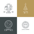 Fast food restaurant and cafe vector logo set in linear style