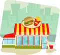 Fast food restaurant cartoon illustration of a and cityscape in the background eps Stock Photos