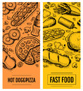 Fast food restaurant menu card template set