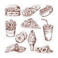 Fast food restaurant. Vector hand drawn pictures of burger french fries cola and pizza