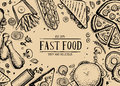 Fast food retro advertising background