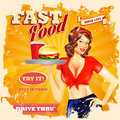 Fast food retro best in town Royalty Free Stock Photo