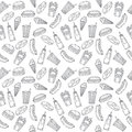 Fast food seamless pattern. Hand drawn food background. Backgrou