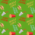 Fast food seamless pattern with sandwiches french fries, soda