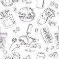 Fast Food Seamless pattern. Sketches. Vintage illustration for identity, design