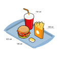 Fast food set. Calorie dishes. Big fresh hamburger. Delicious Fr Royalty Free Stock Photo