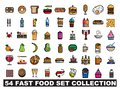 54 fast food set collection logo