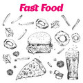 Fast food set with doodle Linear graphic. Snack collection for cafe menu, banners. Junk food Vector illustration