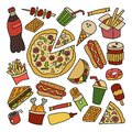 Fast food. Set of elements in doodle and cartoon style. Colorful Royalty Free Stock Photo