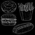 Fast food set. Hand drawn sketch on blackboard background