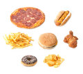 Fast food set various types of on a white background Stock Photo
