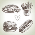 Fast food set vintage hand drawn illustrations Stock Images