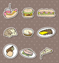 Fast food stickers Royalty Free Stock Image