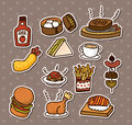 Fast food stickers Stock Photos