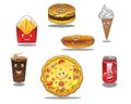 Fast food and takeaway food icons colorful with packet of french fries burger ice cream cone coffee pizza hotdog soda all with Stock Photos