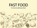 Fast food. It is time delicious meal banner vector illustration