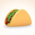 Fast food vector icon taco with beef vegetables crisp shell and Royalty Free Stock Photography