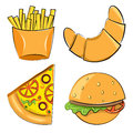 Fast food vector illustration set of objects Royalty Free Stock Image
