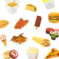 Fast food vector pattern. Hamburger, pitzza, roasted chicken and pop corn with sushi and icre cream isolated on white