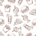 Fast food vector seamless background, menu pattern for your packing design