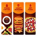 Fast food vertical banners set. Illustartion with pizza, coffee, burgers and sandwich. Royalty Free Stock Photo