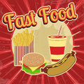 Fast food vintage poster grunge vector illustration Royalty Free Stock Image