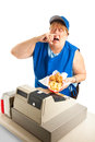 Fast food worker sneezing on meal unhygienic someone s white background Royalty Free Stock Photos
