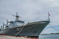 The fast frigate ff battle ship chonburi thailand may was shown for thai people and tourist to visit at sattahip naval base on may Royalty Free Stock Photos