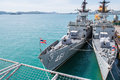 The fast frigate ff battle ship was show chonburi thailand may shown for thai people and tourist to visit at sattahip naval base Royalty Free Stock Photos