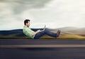 Fast internet concept. Autonomous self driving vehicle car technology Royalty Free Stock Photo