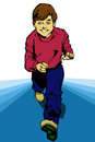 Fast kid comic book style illustrated running Stock Photos