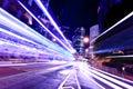 Fast moving car light in Hong Kong Royalty Free Stock Photo