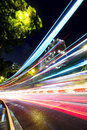 Fast moving car light on street Royalty Free Stock Photo