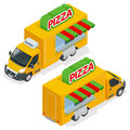 Fast pizza delivery car on white background delivery van with pizza express symbol fast food car with pizza flat vector isometric Royalty Free Stock Image