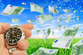 Fast profitability collage with flying euro clock in a hand on a background of sky and grass Royalty Free Stock Photo