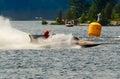 Fast race boat on lake muskoka speeding across in gravenhurst bay in gravenhurst ontario Stock Photo