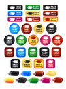 Fast shipping box icons and buttons large set of badges Stock Image