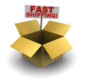 Fast shipping d illustration of cardboard box with sign Royalty Free Stock Image