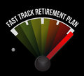 Fast track retirement plan speedometer Stock Photography