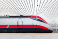Fast train in italy a the new station of reggio emilia Royalty Free Stock Photo