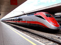 Fast train named red arrow in rome central station italy the trains managed by trenitalia are quite and comfortable and serve Stock Image