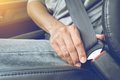 Fasten the car seat belt. Royalty Free Stock Photo