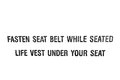 Fasten seat belt while seated life vest under your seat Royalty Free Stock Photo