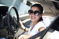 Always fasten the seat belt young woman driver before her driving Stock Images